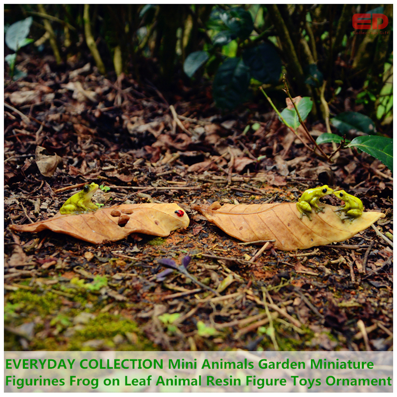 EVERYDAY COLLECTION Mini Animals Garden Miniature Figurines Frog on Leaf Animal Resin Figure Toys Ornament