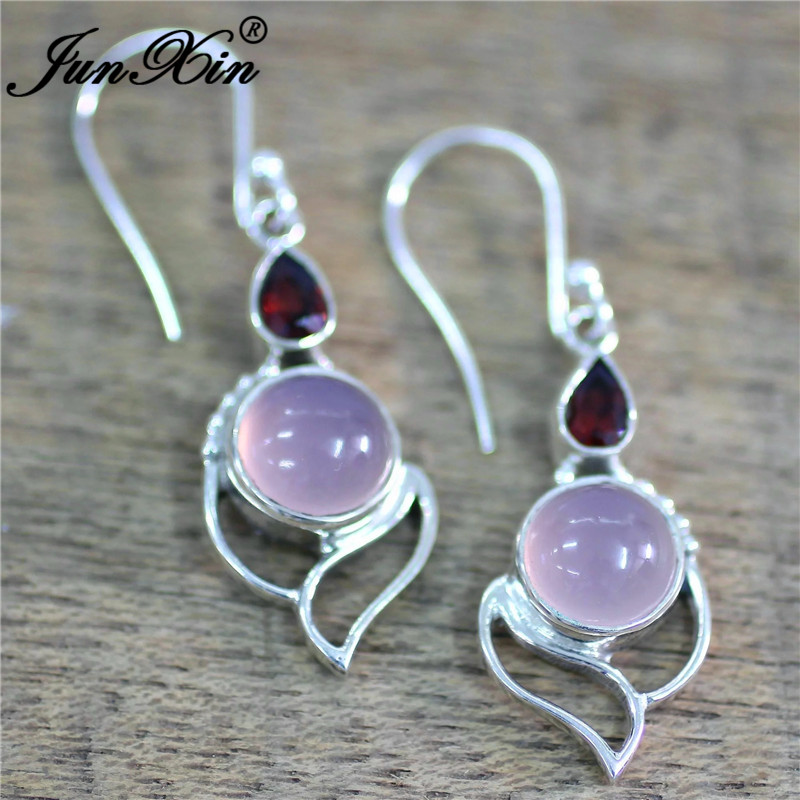 HTB1XaAkX5HrK1Rjy0Flq6AsaFXag - JUNXIN Antique Silver Geometry Moonstone Drop Earrings For Women Boho Round Red Blue Opal Earrings Female Zircon Wedding Jewelry
