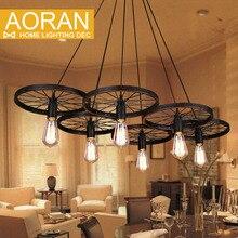 Античный подвесной светильник черный цвет колеса подвесные светильники Эдисон подвесные светильники 6 * E27 Эдисон лампы 40 Вт