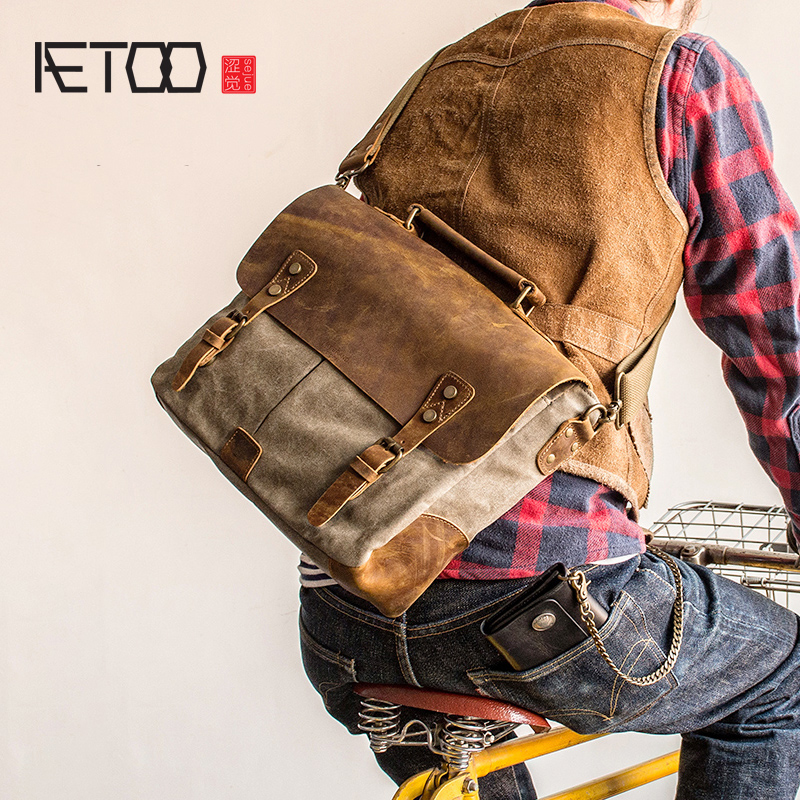 AETOO Retro Postman packets shoulder crossbody bag handbag man canvas bag stitching mad horse Skin