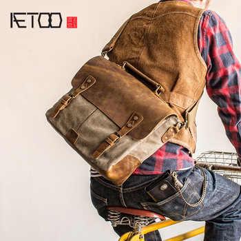 AETOO Retro Postman packets shoulder crossbody bag handbag man canvas bag stitching mad horse Skin - DISCOUNT ITEM  40% OFF All Category