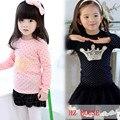 2016 Primavera do bebê meninas camisola de Algodão ama 3D Imperial coroa Bordado Treino roupas roupas crianças t camisas dos miúdos minnie