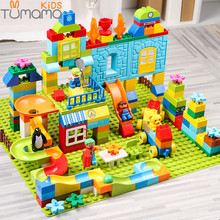 Big Size Building Blocks 160-211pcs Amusement Park Marble Run Model Building Toys Kids Educational Compatible legoinglys duploed