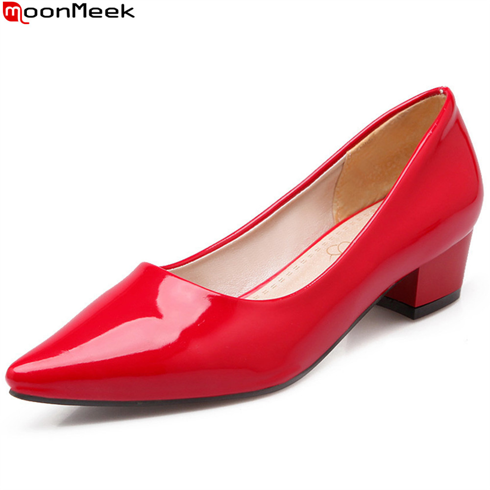 MoonMeek black red blue fashion spring autumn women pumps pointed toe ladies casual shoes square heel med heels shoes nig size 2017 women lady shoes flat heel spring autumn boat pointed toe slip on casual simple mixed color pink yellow blue black red