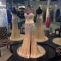 Nova moda vestido de festa 2015 vestido de baile de cristal fenda lateral de strass e beading evening partido vestido custom made tamanho