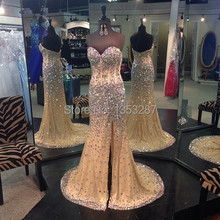 Neue mode vestido de festa 2015 kristall abendkleid seitenschlitz strass und perlen abend-partei-kleid nach maß größe