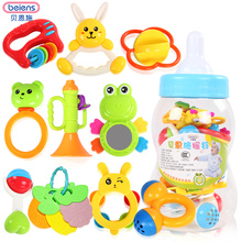 Beiens Brand Toys 10pcs  Lovely Plastic Newborn Baby Toys Hand Shake Bell Ring Rattles Toys Baby Educational Toys