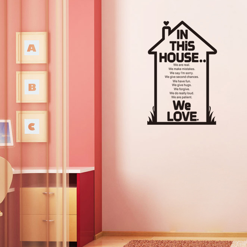 Hot Sale We Love In This House English Family House Rules - House rules wall decals