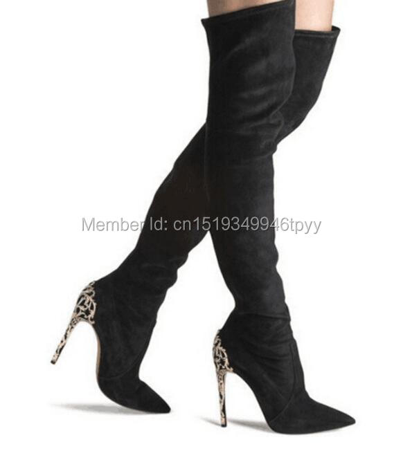 2016 New design Sexy Women Suede Thigh High Boots Pointed Toe Floral Metal High Heels Over the Knee Autumn Boots sexy suede and lace design thigh boots for women