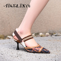 AIKELINYU Brand Designer Fashion Mesh Sandals Women Stripe Patchwork Elastic Point Toe Sexy High Heel Shoes Lady Green Sandals