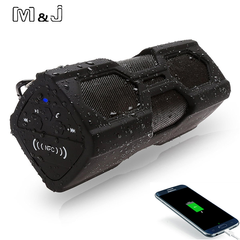 M J NFC Portable Speaker Waterproof Wireless Bluetooth Speaker Soundbar Built in Battery Power Bank Support