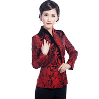 Hottest Chinese Style Lady Silk Satin Overcoat Vintage Mandarin Collar Jacket Single Button Coat Tang Suit Size S To 4XL