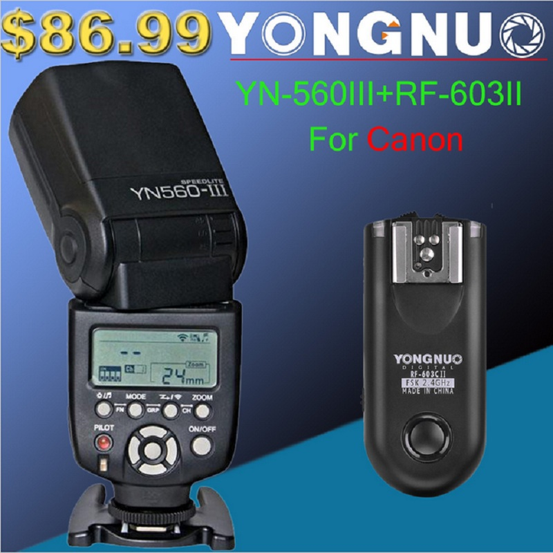 Yongnuo YN-560 III With RF-603 II Single Transmitter for Canon YN560III Ultra long range Wirelss flash Speedlite RF603 II Trgger yongnuo rf 603 n1 rf603 n1 беспроводной флэш спровоцировать отдаленных