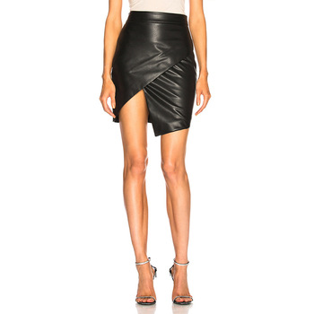 2019 summer new leather bag hip leather skirt women Slim one step skirt cross-country fashion irregular skirt 4