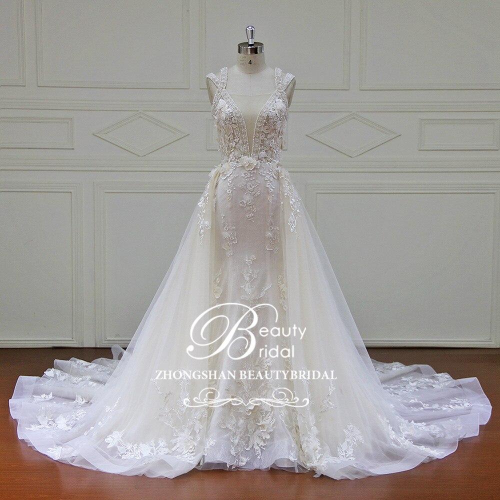 Élégant Train détachable robes de mariée sur mesure en dentelle perles sans manches robe de mariée sirène Vestido de Noiva XF17011