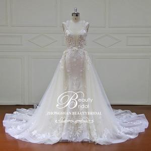Image 1 - Elegant Detachable Train Wedding Dresses Custom made Lace Pearls Sleeveless Mermaid Wedding Dress  Vestido de Noiva  XF17011