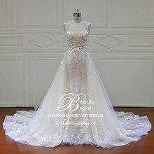 Elegante trem destacável vestidos de casamento feito sob encomenda pérolas rendas sem mangas sereia vestido de noiva xf17011