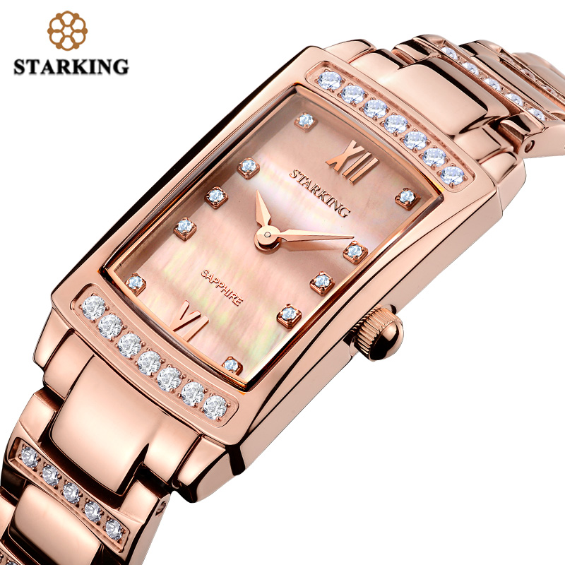 STARKING 2017 Relogio Feminino Women Analog Quartz Bracelet Watches With Cz Stone Luxury Rose Gold Full Steel Ladies Watch Gift