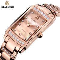 STARKING 2017 Relogio Feminino Women Analog Quartz Bracelet Watches With Cz Stone Luxury Rose Gold Full Steel Ladies Watch Gift