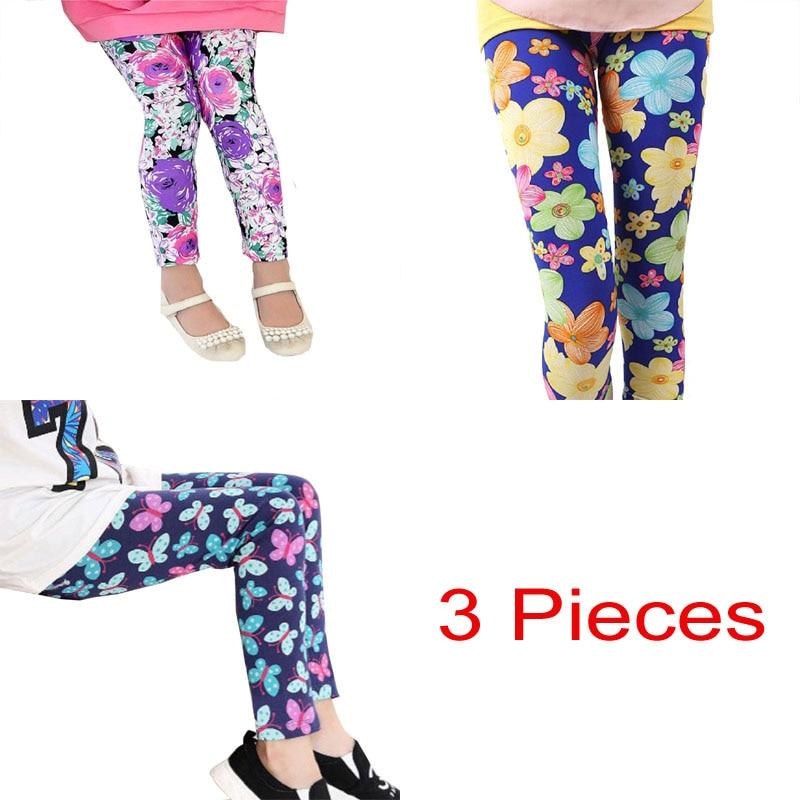 3 Teile/los Freies Verschiffen Baby Mädchen Kleidung Nette Blume Druck Bleistift Hosen Kinder Leggings