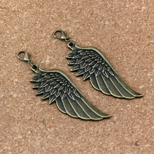 50Pcs /lots Antique bronze Angel wings Charm Bead with Lobster clasp Fit Bracelet Jewelry DIY 22x69mm A-306b