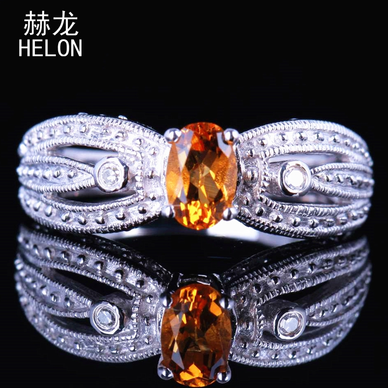 Bijoux en pierres précieuses 6x4mm ovale coupe Citrine bague dames de mariage bague de fiançailles 925 en argent Sterling véritable Citrine diamants bague