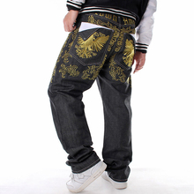 цена на New Fashion Hip Hop Men Jeans Gold Embroidery Loose Baggy Style Male Jeans Trousers Boy Men Denim Pants Plus Size