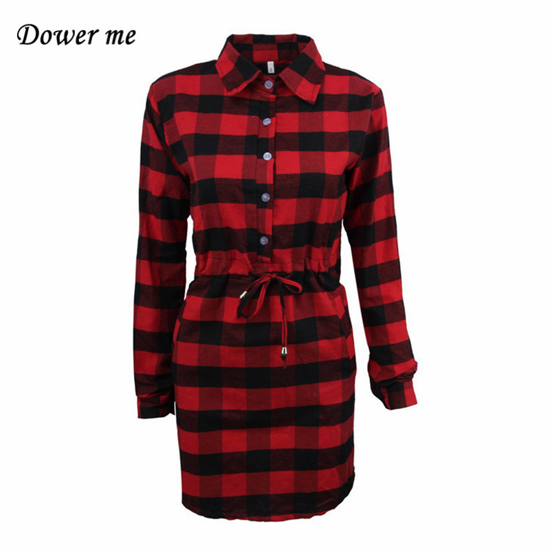 Мода красный плед Для женщин блузка Стиль Платье Vestidos Элегантный отложной воротник дамы Платья для женщин женские простые свободные платья...