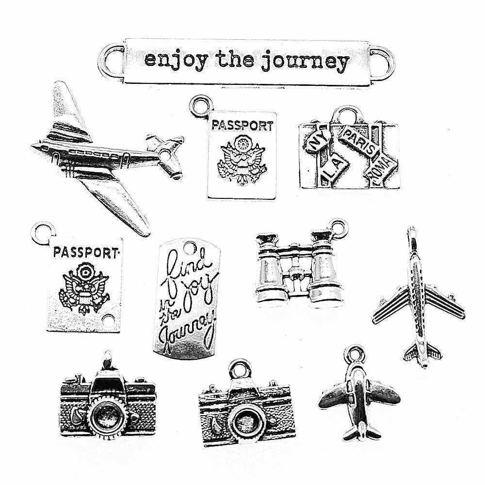 15 قطعة السفر حُليات المجوهرات صنع الطائرات كاميرا جواز جذع سحر رحلة سحر ل سوار جعل العتيقة الفضة