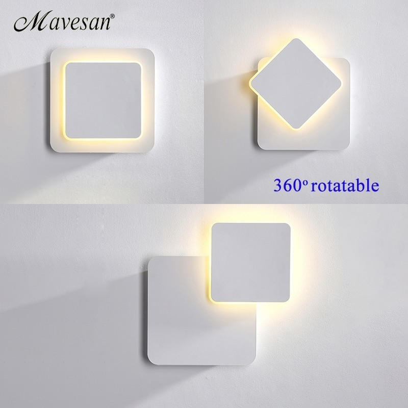 Image 3 - White black body Wall Lamps for Bedroom living room square  AC90 260V Indoor Led Wall Light Rotatable Plated Metal 5W/16W SconceLED Indoor Wall Lamps   -