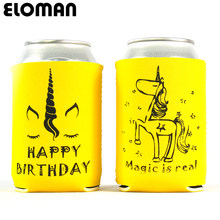 Unicorn party can cooler ELOMAN birthday party decoration custum beer can cooler sleeve wedding koozies baby shower drink cozy(China)