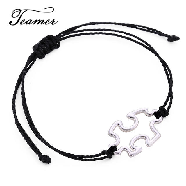 Teamer Puzzle Piece Charm Bracelets For Men Women Simple Rope Cord Adjule Fashion Jewelry Cordbh100237