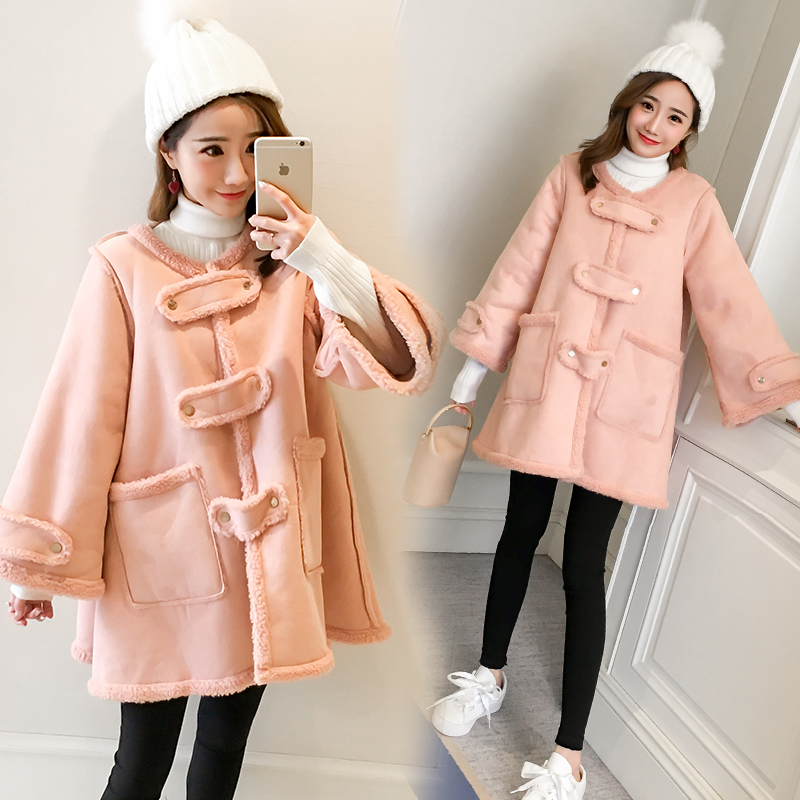 2017 autumn and winter new cashmere thick red lacquer coat hooded long sheep lambs pregnant women dress tide newborn 2017 autumn and winter new girl cartoon plus cashmere cardigan women baby out jackets thick dress princess dress533