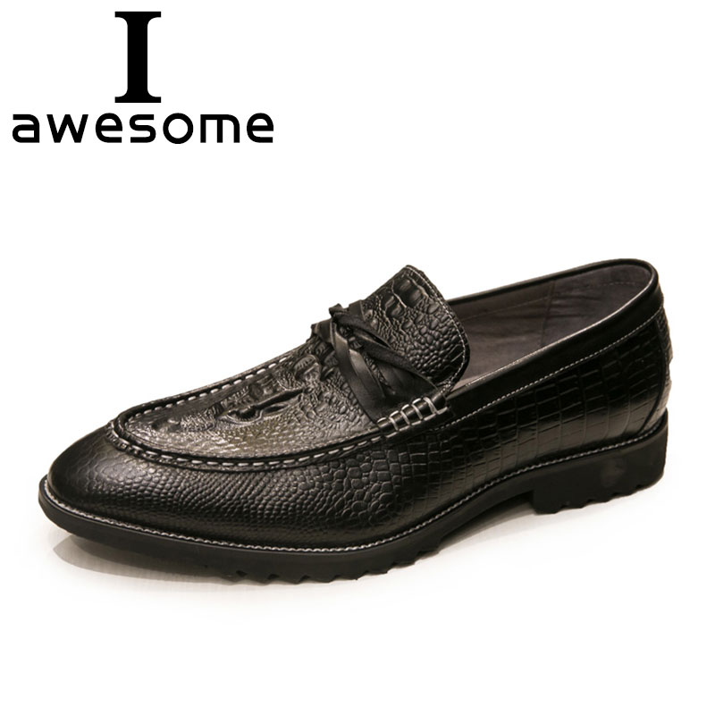 2018 High Quality Slip-On Men Formal Shoes Dress Shoes Genuine Leather Men Fashion Crocodile Men Flats Banquet Loafers 0415 high quality men fashion business office formal dress breathable cow leather brogue shoes gentleman tassel slip on shoe loafers
