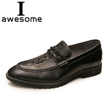 2018 High Quality Slip-On Men Formal Shoes Dress Genuine Leather Fashion Crocodile Flats Banquet Loafers 0415