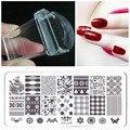 Ногтей штамповки пластин желе штампа ногтей печатная форма изображения пластины пальцев DIY маникюр шаблон комплект инструментов