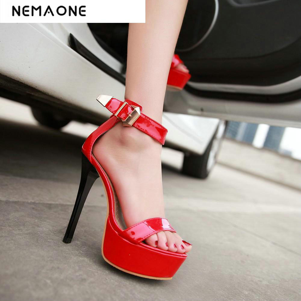 Big Size 32-43 Fashion Party Shoes Woman Sexy High Heels platform Summer Pumps Ankle Strap Sandals Women Shoes flock leather women ankle strap high heel sandals platform sexy fashion party shoes for woman black with 10cm heels ch a0060