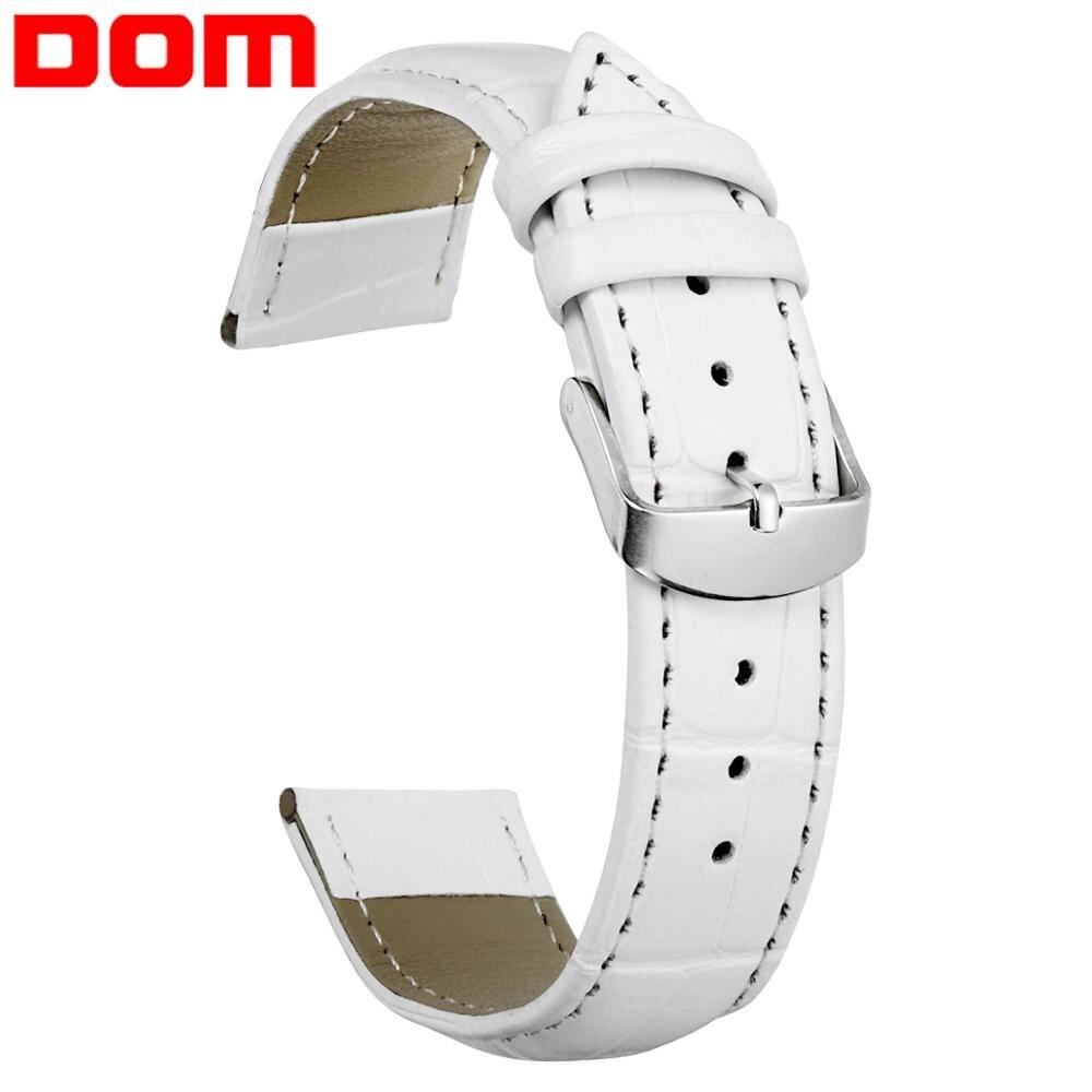 DOM bracelets de montre femmes hommes unisexe Faux cuir Bracelet de montre boucle bande 18mm 20mm 22mm haute qualité blanc montre ceinture Bracelet