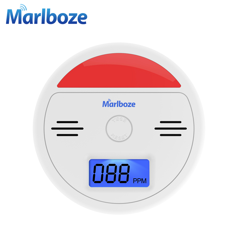 Marlboze Sound And Light CO Sensor LCD Photoelectric Home Security Independent Carbon Monoxide Poisoning Alarm Detector 85dB