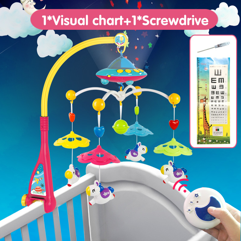 Huanger Musical Crib Mobile Bed Bell Baby Rattle Rotating Bracket Projecting Toys for 0-12 Months Newborn Kids Christening gift baby musical crib mobile bed bell baby hanging rattles rotating bracket projecting toys for 0 12 months newborn kids gift