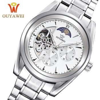 Skeleton Watch Men Mechanical Wrist Watches Gold Automatic Self Wind Watch montre homme automatique horloges mannen OUYAWEI