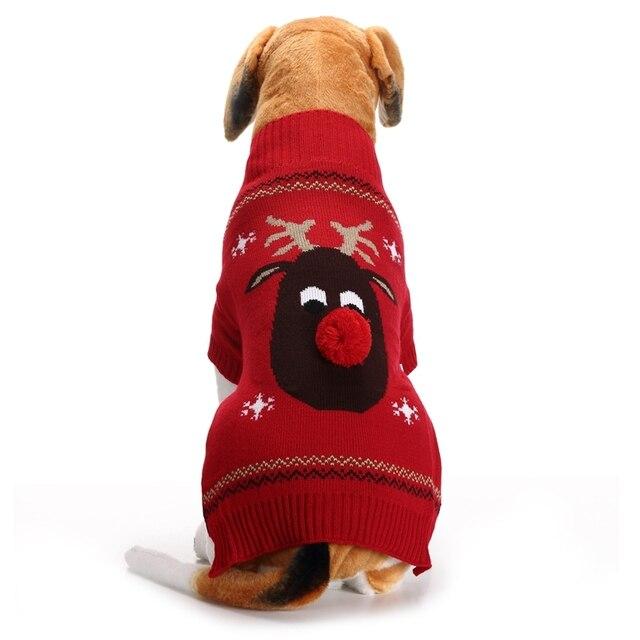 Xmas Reindeer Pet Dog Sweater For Autumn Winter Warm Knitting