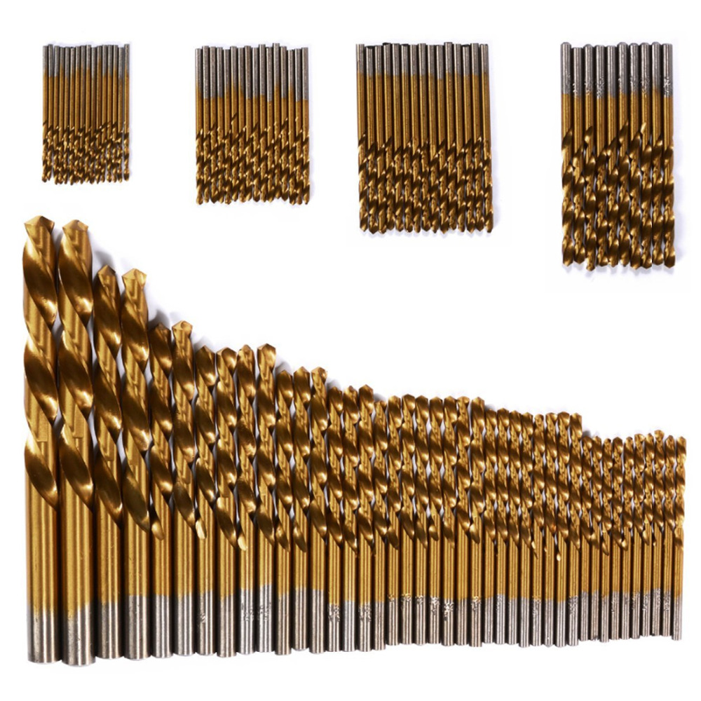 цена на Twist Drill Bit Set 1.5mm-10mm 99pcs/set Titanium Coated Drill Bits High Speed Steel HSS Tool For Power Tools