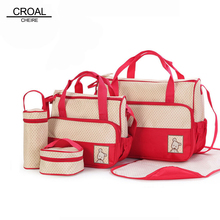 39*28.5*17CM 5pcs Baby Diaper Bag Suits For Mom Baby Bottle Holder Fashion Mother Mummy Stroller Maternity Bag Nappy Bags Sets