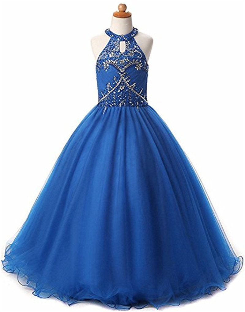 tulle beading halter ankle-length ball gown flower girl dress sequined  Formal Party Dress  First communion dresses for girls