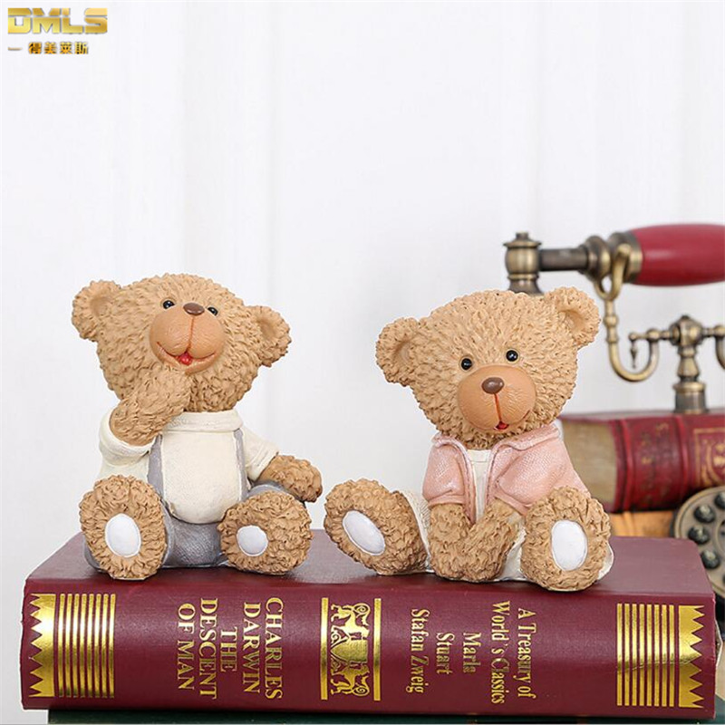 DMLS Resin Bear Figures فیگورهای آرتروز تولد هدیه تولد دوست داشتنی خرس تزئینات عروسک عروسک تزئینات خانه 2 عدد / مجموعه حمل رایگان