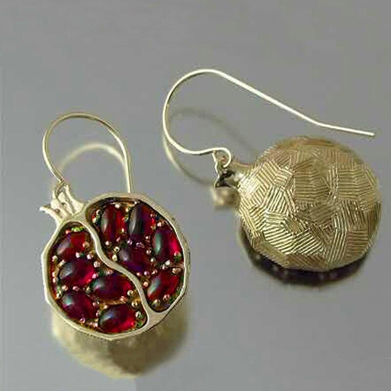 Vintage Gold Color Red Garnet Earrings