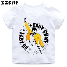 Boys and Girls FREDDIE MERCURY Rock Band Queen Print T shirt Kids Funny Clothes Enfant Summer White Tee shirt,HKP2424