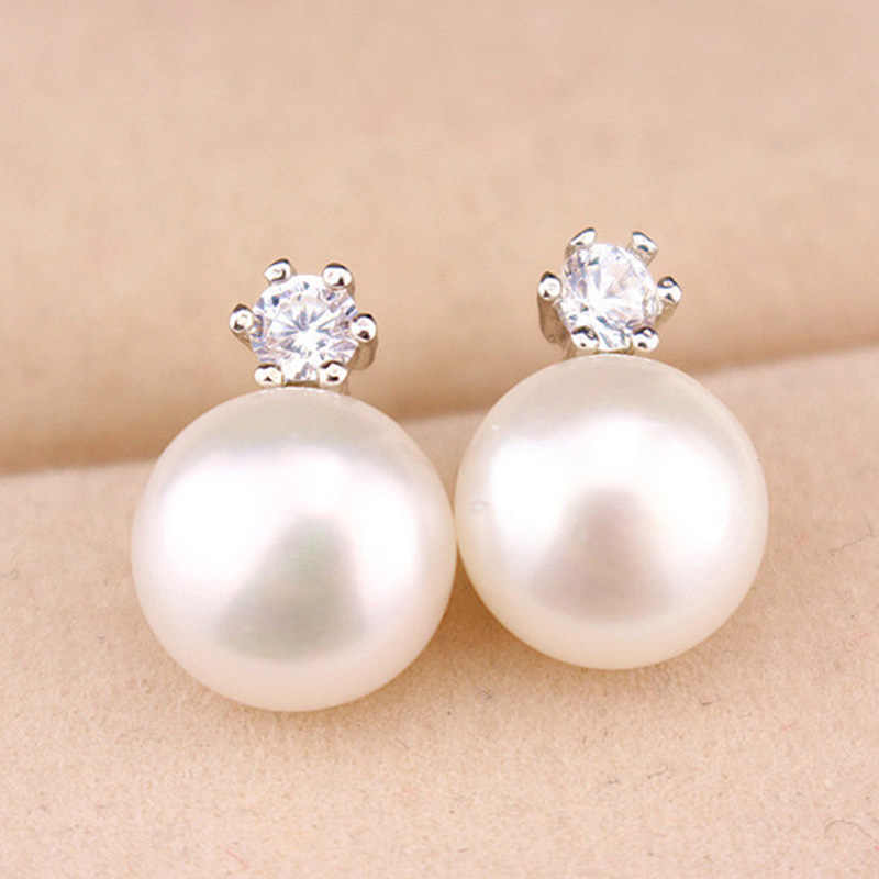 Crystal Stud Earrings Double Side Pearl Earrings Women Gold Silver Rhinestone Zircon Beads Ear Jewelry Accessories Pendientes