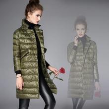 Luxury Latest 2016 Winter 90% White Duck Down Light Coat Long Sleeve Elgant Brand Women Basic Long Parka Jacket Outwear Coat